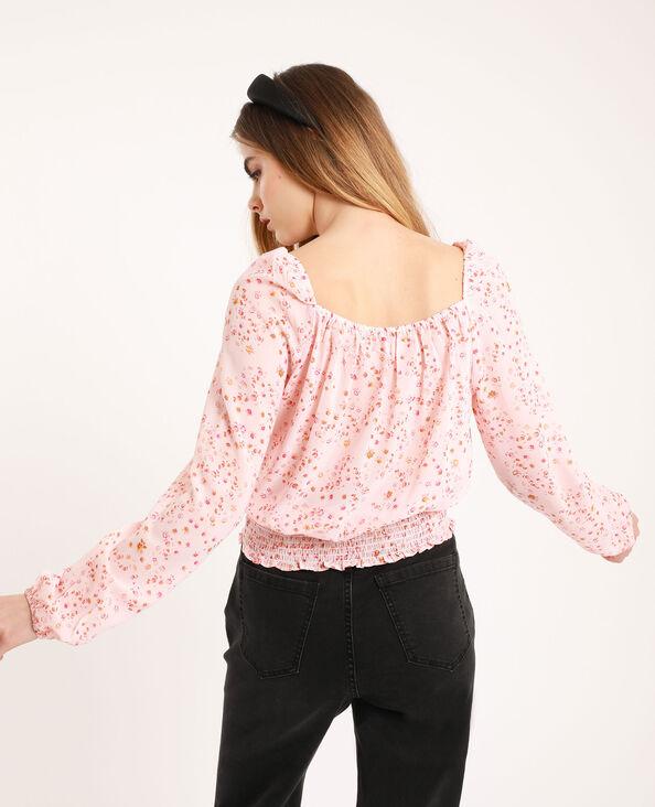 Soepele blouse met bloemenprint roze