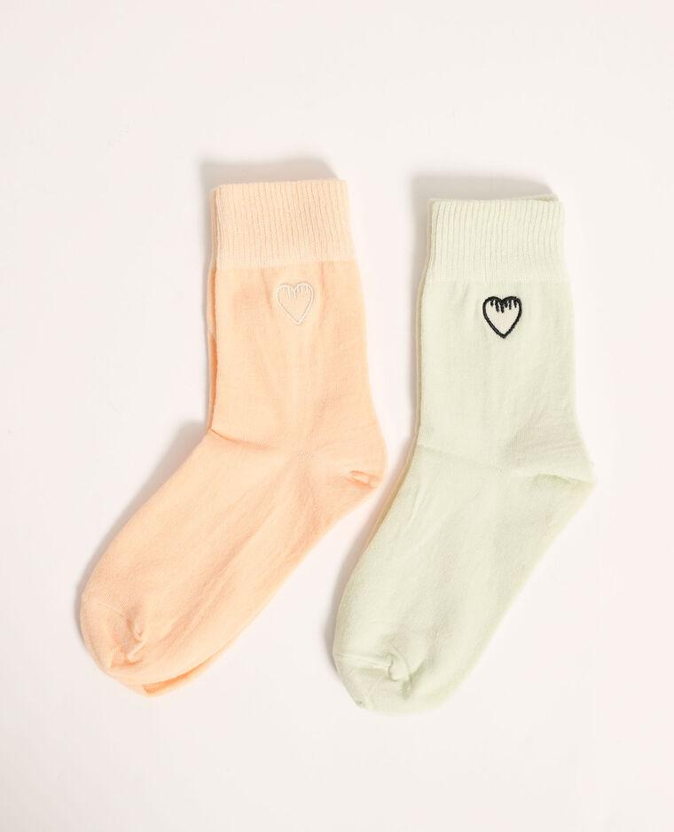 Set van 2 paar sokken met hartjes oranje - Pimkie