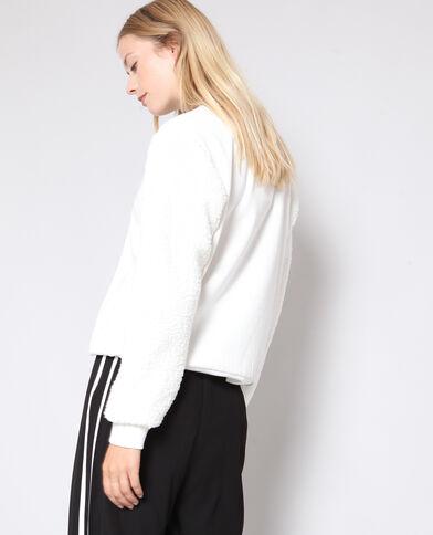 Sweater met schapenvachtmouwen gebroken wit