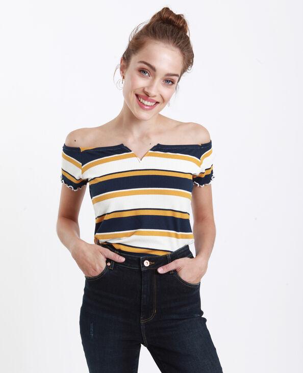 T-shirt petit col V jaune
