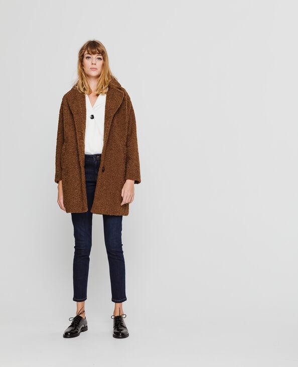 Manteau en maille bouclette beige sable