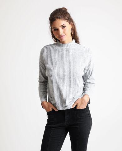 T-shirt van ribstof gemêleerd grijs