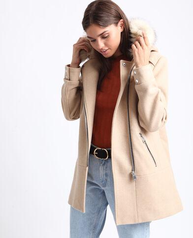 Manteau mi-long à capuche beige