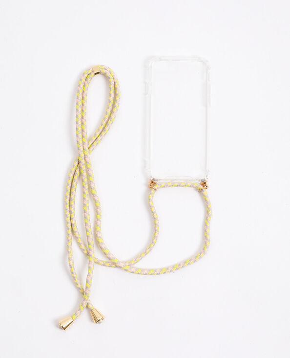 Coque avec cordon compatible iPhone beige