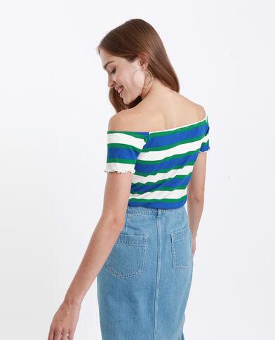 T-shirt met kleine V-hals blauw