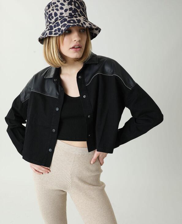 Oversized jeanshemd met kunstleer zwart - Pimkie