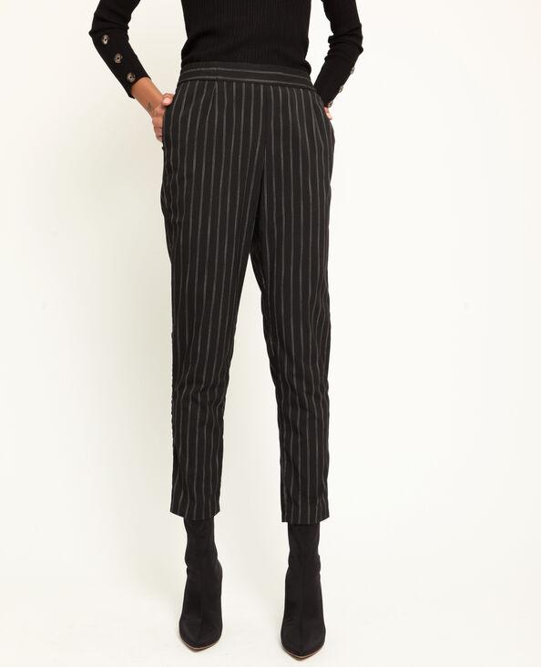 Pantalon city rayé noir
