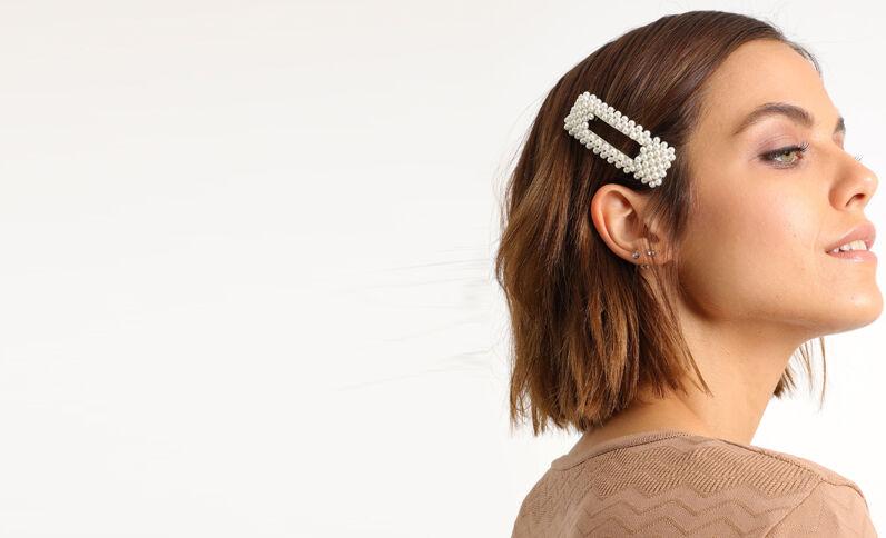 Haarklem met parels wit