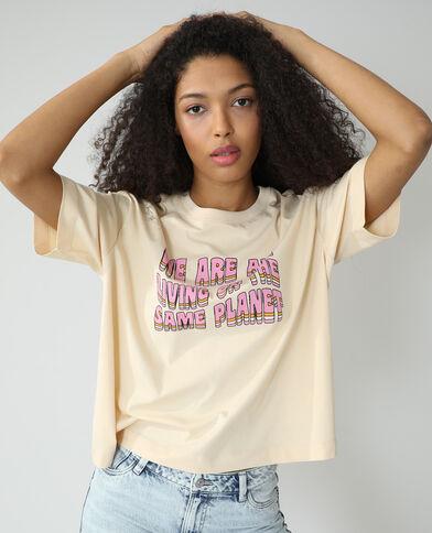 T-shirt oversize à message beige - Pimkie
