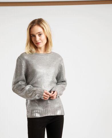 Pull brillant gris