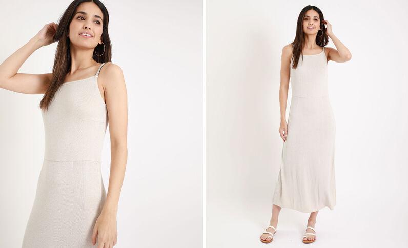 Lange jurk van ribstof ecru