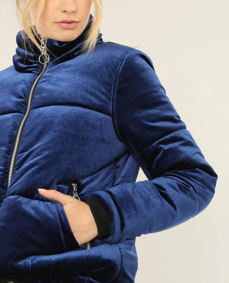 Doudoune velours bleu électrique