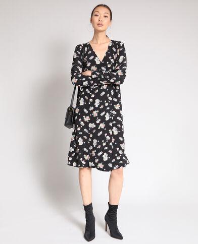 Halflange jurk met bloemenprint zwart