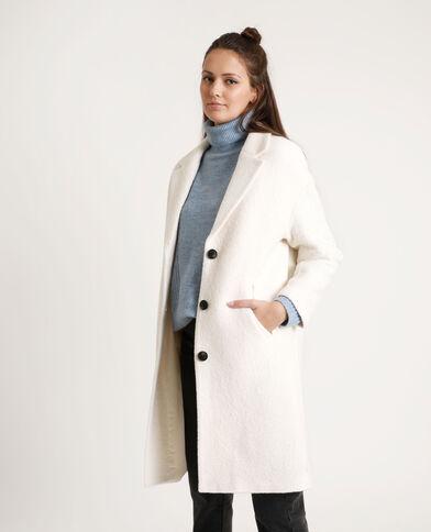 Lange jas met wolaandeel gebroken wit