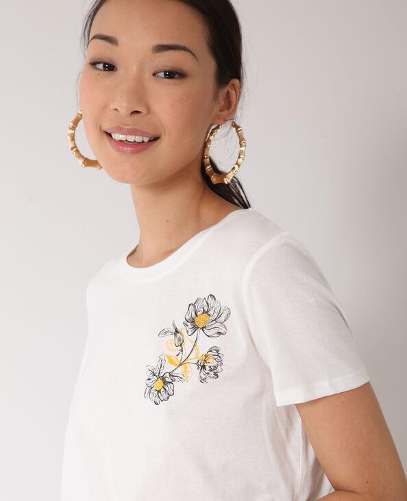 T-shirt met bloemenprint wit
