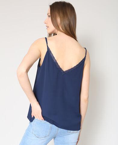 Topje met dunne schouderbandjes marineblauw