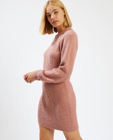 Trui-jurk met kabelmotief roze - Pimkie