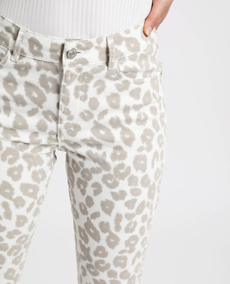 Pantalon skinny léopard écru