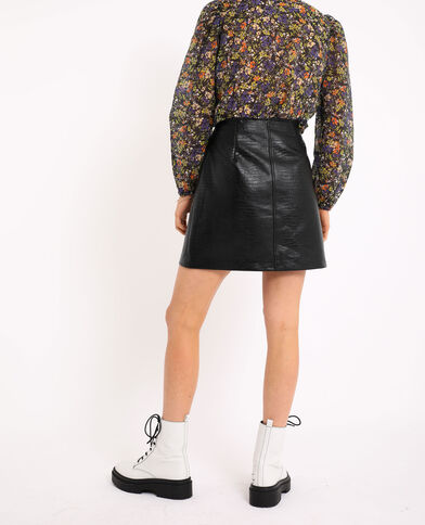 Jupe simili cuir croco noir