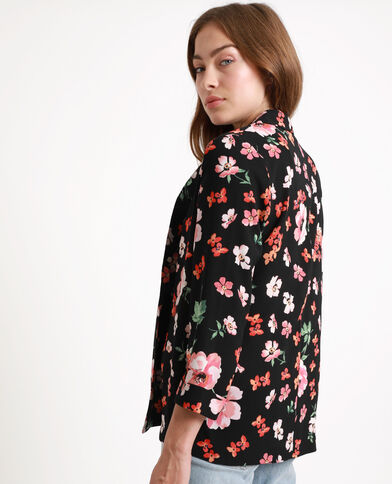 Jasje met bloemenprint zwart + rood