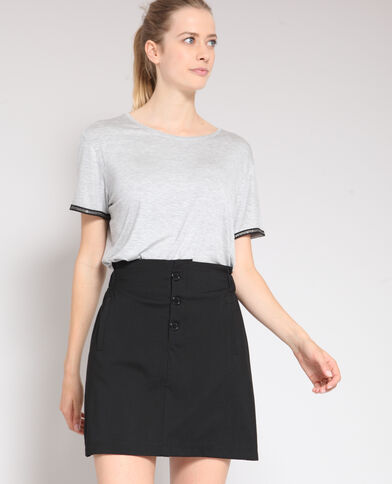 T-shirt à col rond gris chiné