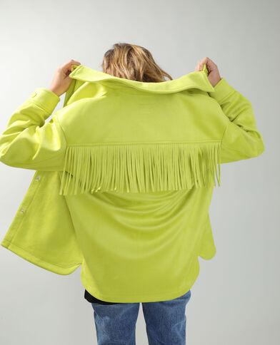 Suèdine overhemd met franjes Fluor geel