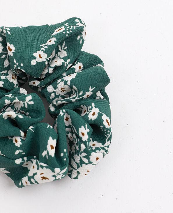 Scrunchie met kleine bloemen groen
