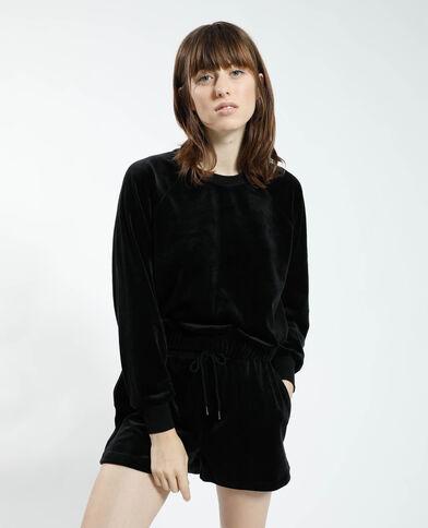 Sweater van fluweel zwart - Pimkie