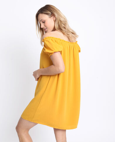Jurk met bardothals geel