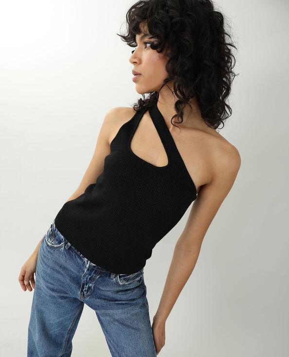 One shoulder-top zwart - Pimkie