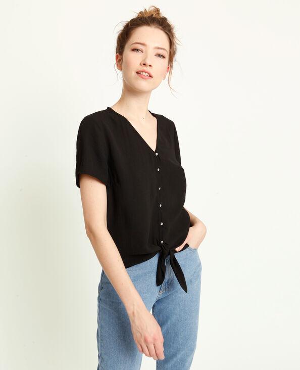 Shirt met strikjes zwart