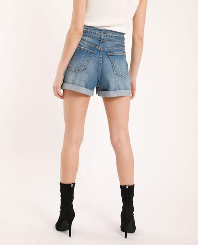 Jeansshort met hoge taille denimblauw