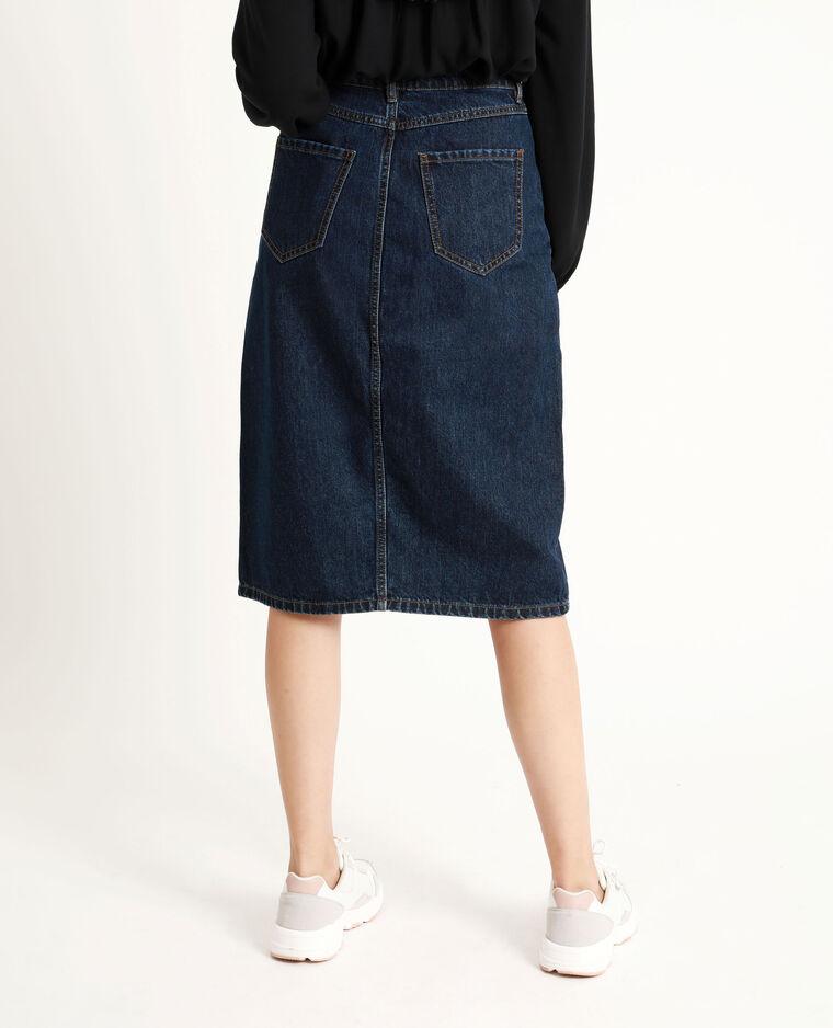 Jupe midi en jean bleu brut