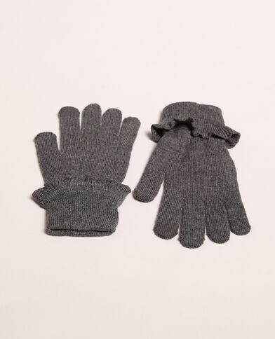 Handschoenen met ruches parelgrijs