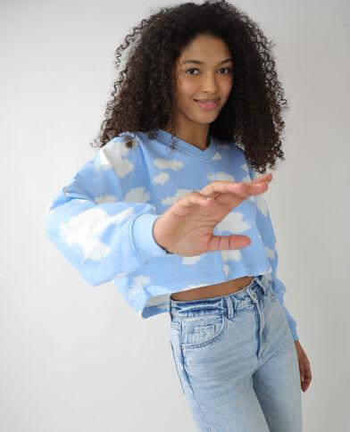 Molton sweater met wolken lichtblauw - Pimkie