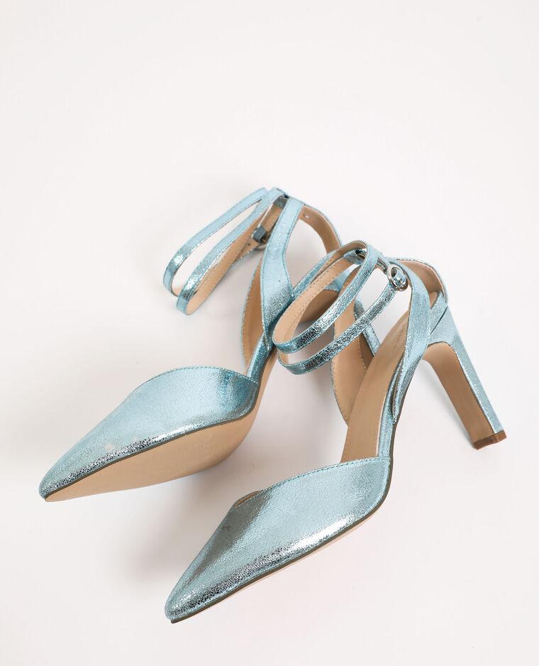 Glanzende sandalen elektrisch blauw