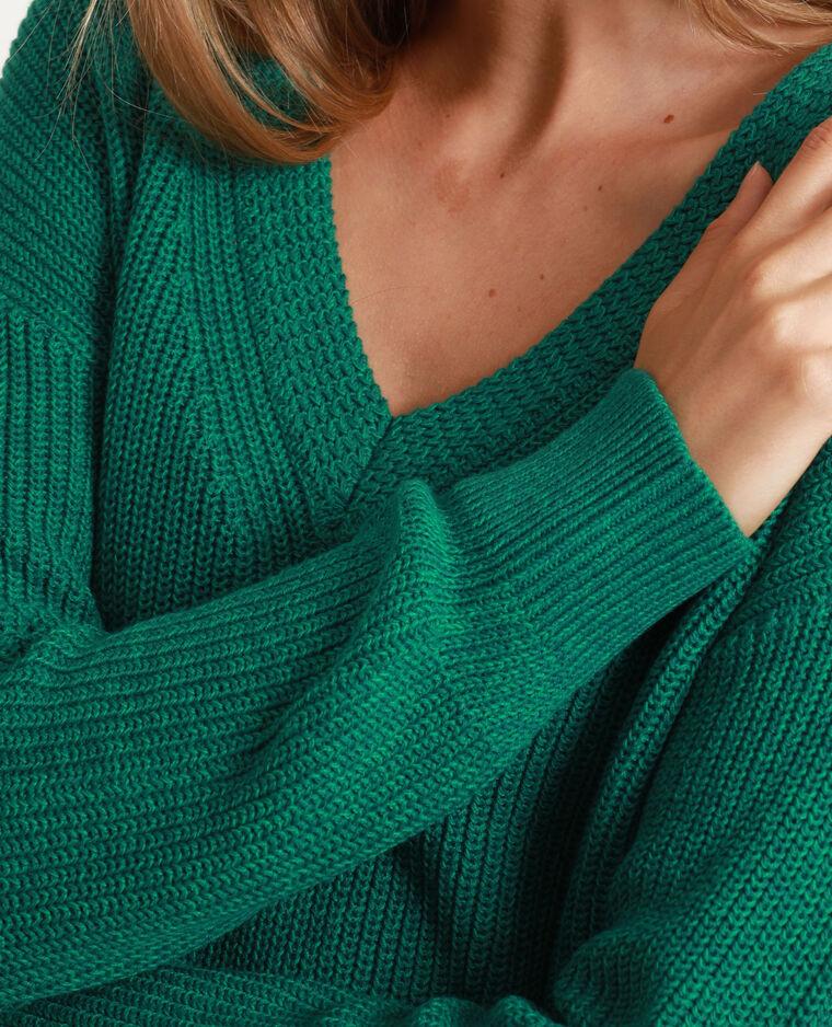 Trui met V-hals groen