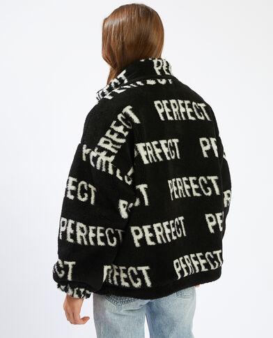 Jasje met schapenvachteffect en 'PERFECT'-print zwart - Pimkie