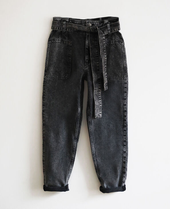 Jean mom acid wash gris