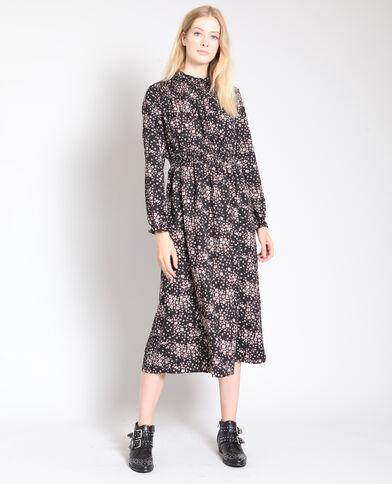 Robe longue à fleurs noir