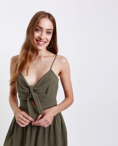 Jurk met strikje op de borst groen