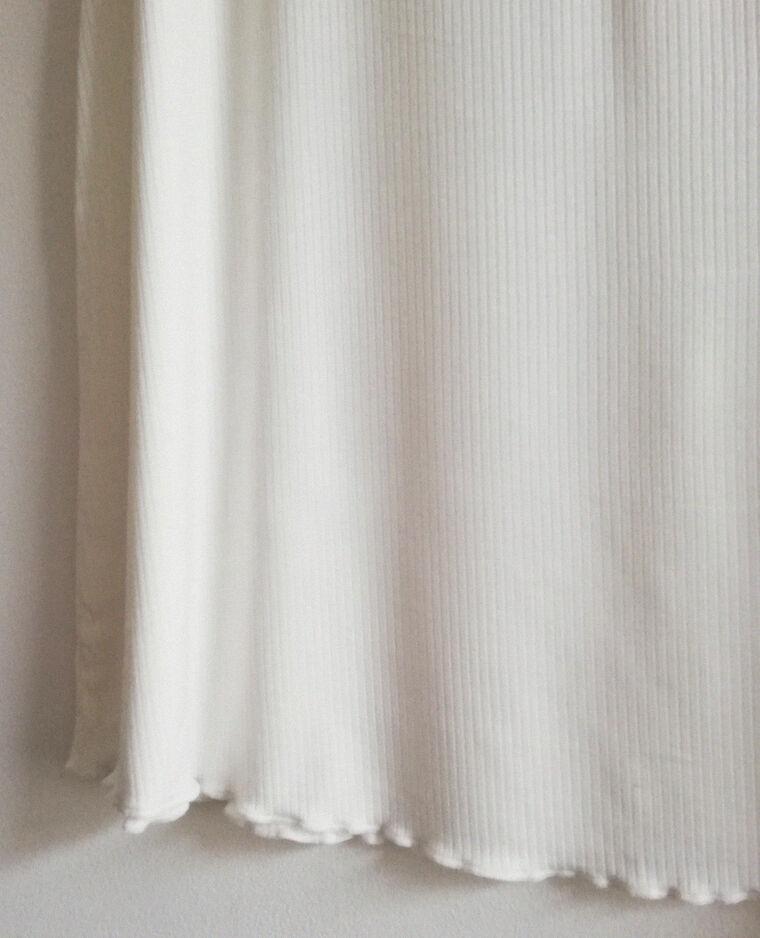 Robe côtelée à manches courtes écru