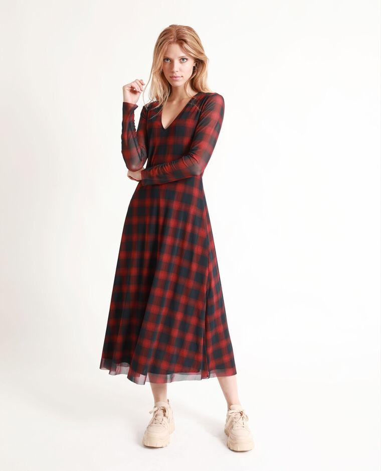 Robe longue à carreaux rouge
