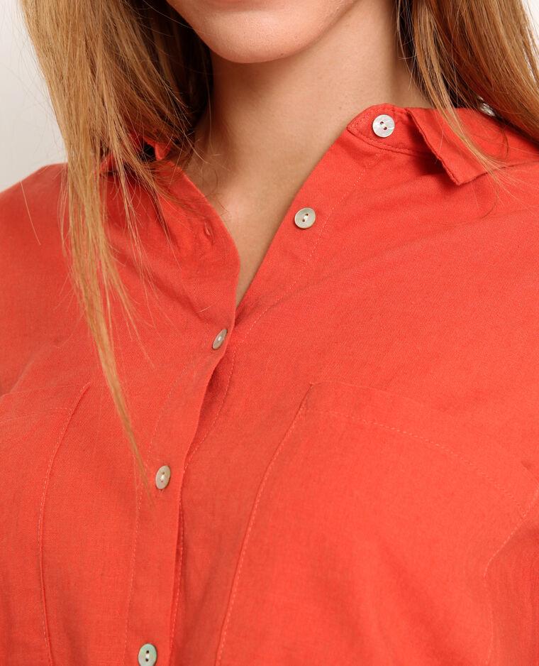 Chemise 55% lin orange