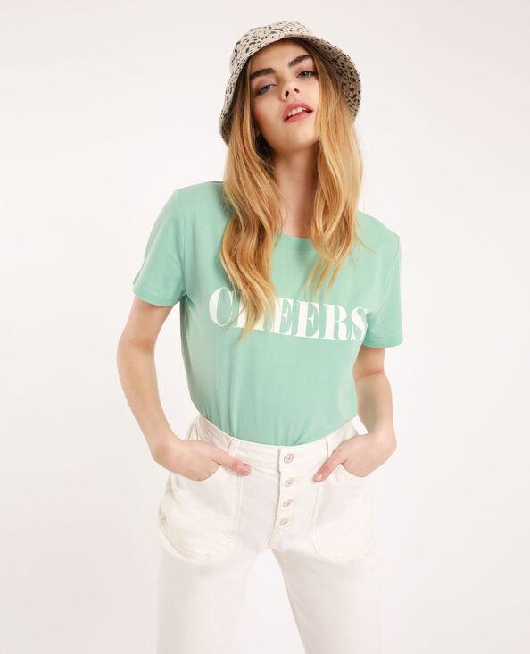 T-shirt à message vert menthe