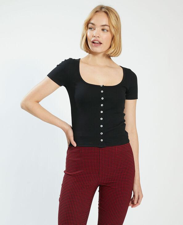 Basic T-shirt met knoopjes zwart - Pimkie