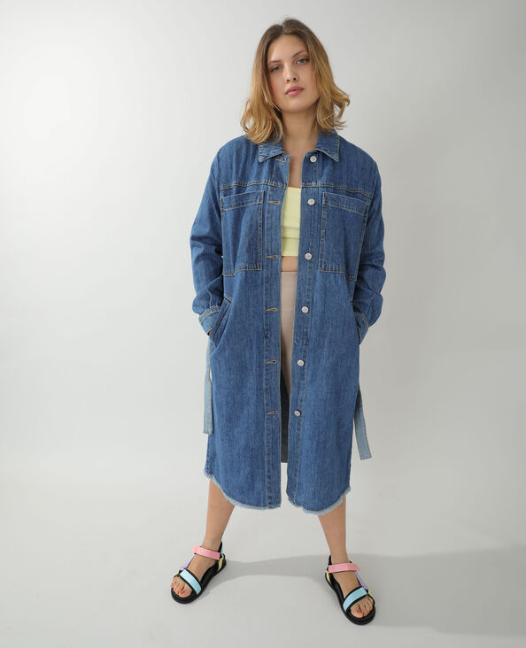 Lange jeansmantel blauw - Pimkie