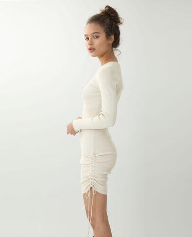 Strakke jurk met schuiflint kastanjebruin