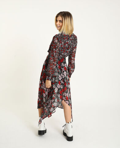 Lange jurk zwart + rood
