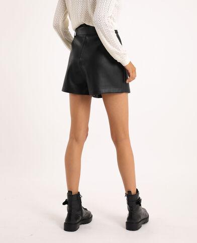 Jupe short simili cuir noir